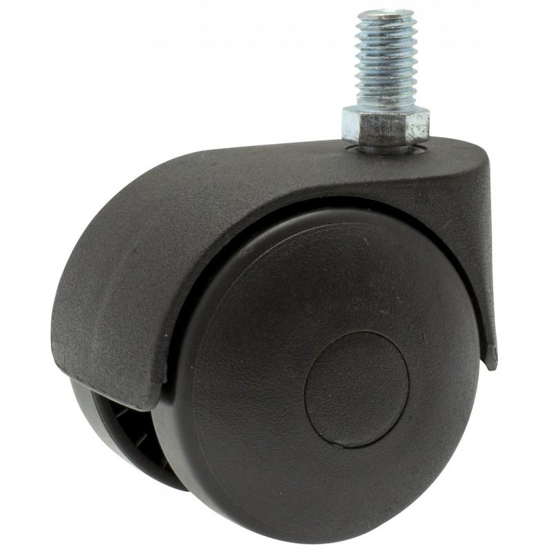 Roulette Twiny noire à tige filetée pivotante Guitel point M - Diamètre 50 mm