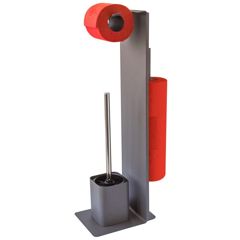 Serviteur papier toilette avec brosse Wilson Gelco Design - Carbone