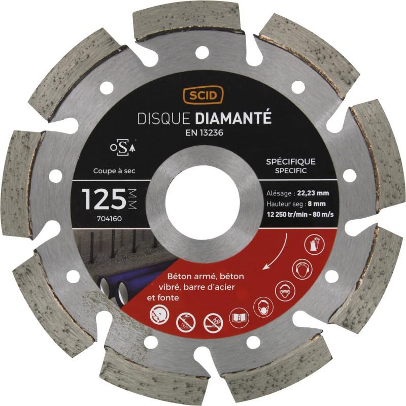 Disque diamanté ventilé béton métal SCID - Diamètre 125 mm