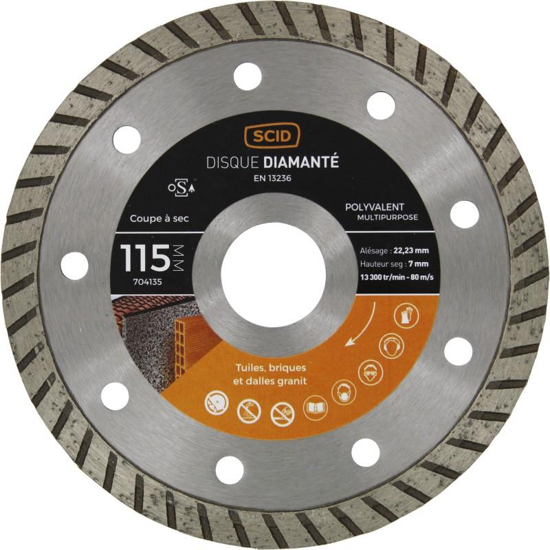 Disque diamanté polyvalent crénelé SCID - Diamètre 115 mm