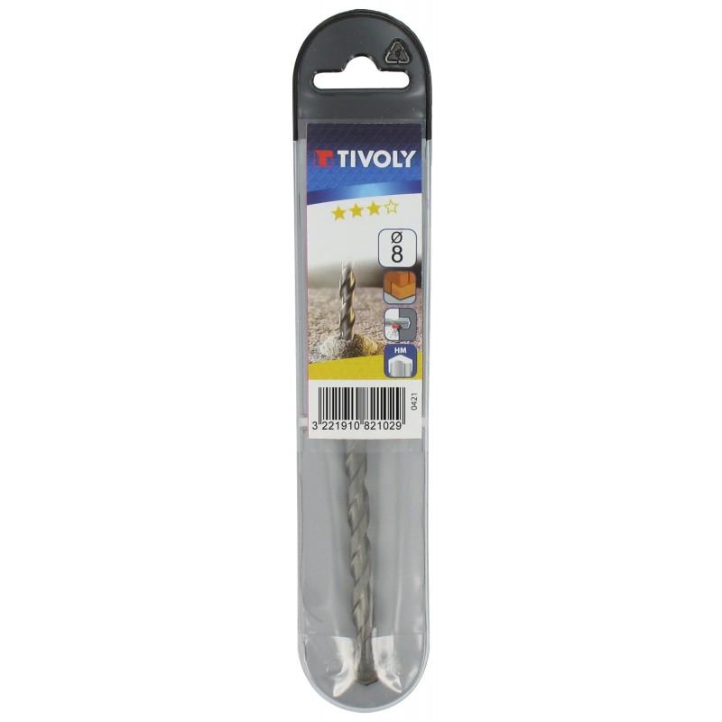 Foret à béton usage fréquent pro Tivoly - Longueur 85 mm - Diamètre 5 mm - Vendu par 2