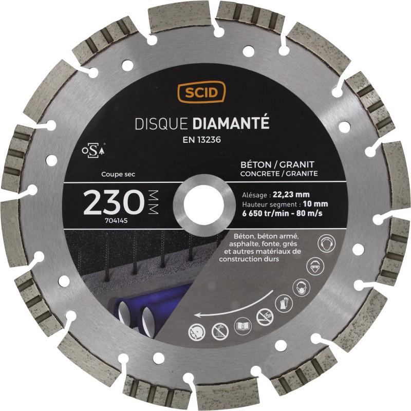 Disque diamanté béton granit ventillé SCID - Diamètre 230 mm