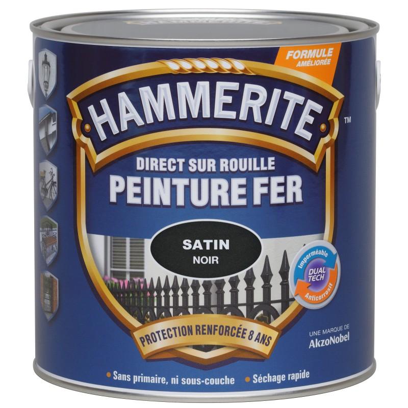 Peinture satinée noire Hammerite - 750 ml