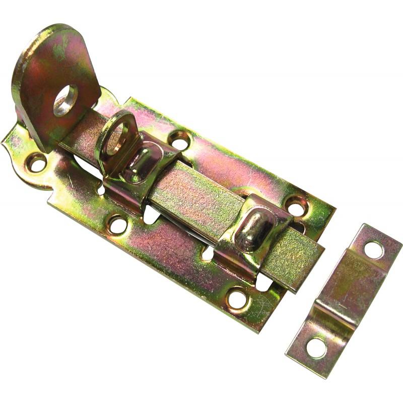 Verrou platine acier Alsace droit Strauss Vonderweidt - Zingué jaune - Longueur 120 mm