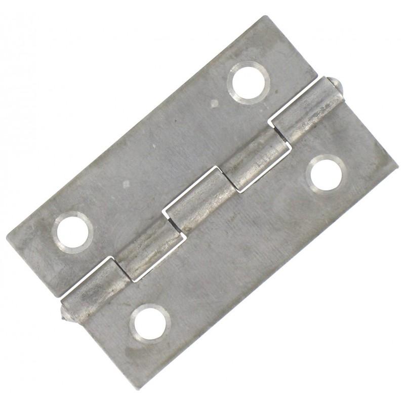 Charnière rectangulaire simple feuille Jardinier Massard - Acier décapé - Hauteur 35 mm - Largeur 22 mm