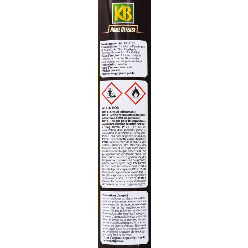 Insecticide mouches moustiques kb home defense a rosol 400 ml de insecticide volants for Peinture anti mouche