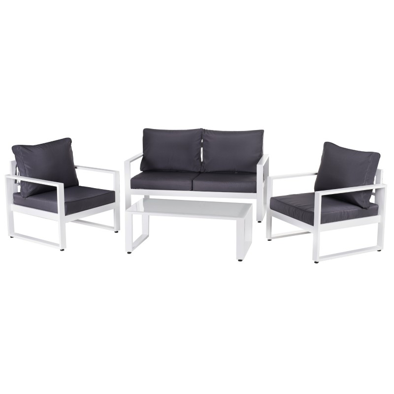 salon de jardin bas aluminium anne 4 places blanc et. Black Bedroom Furniture Sets. Home Design Ideas