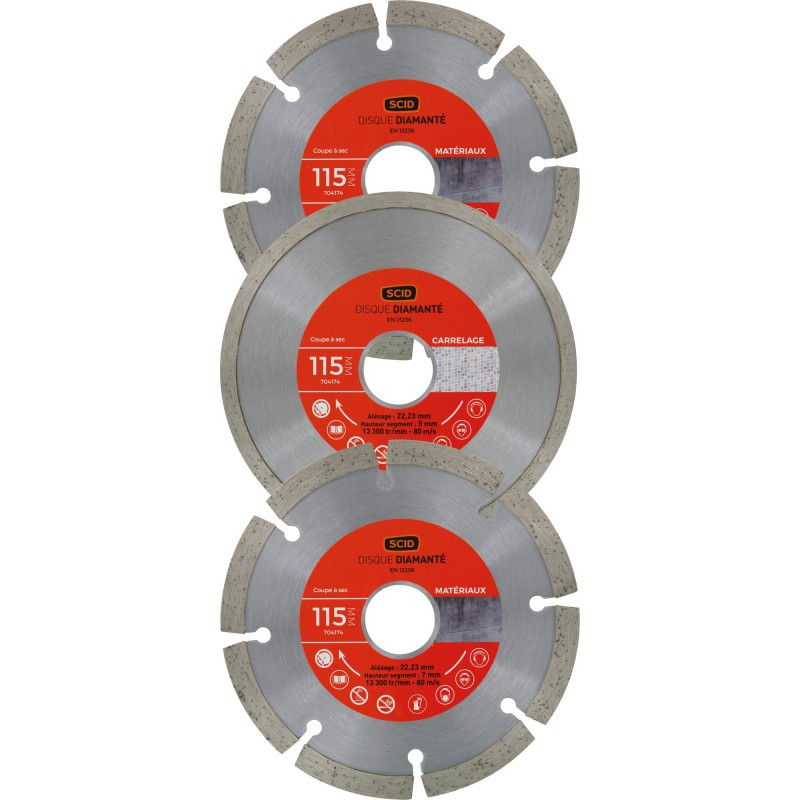 Lot 2 disques diamantés standards et 1 disque diamanté carreleur SCID - Diamètre 115 mm
