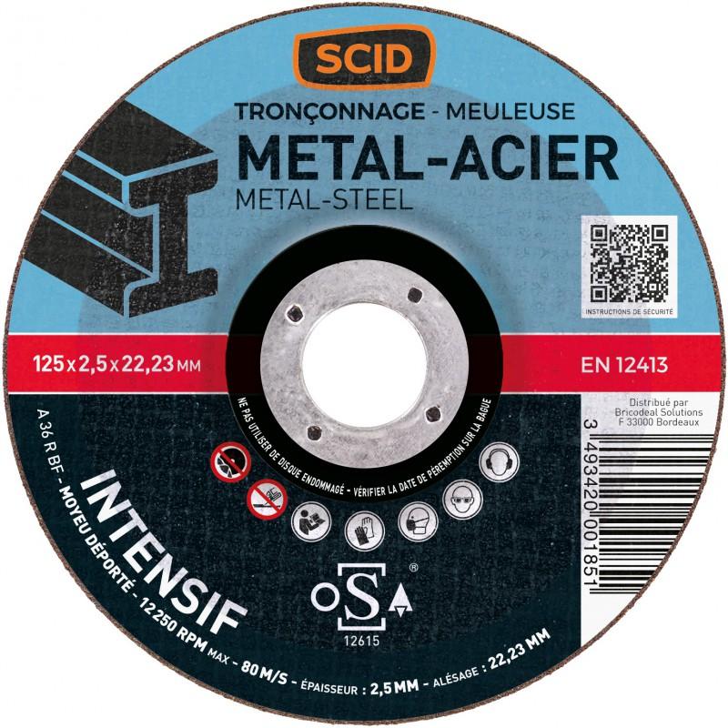 Disque à tronçonner usage fréquent SCID - Métaux - Diamètre 125 mm - Alésage 22,2 mm