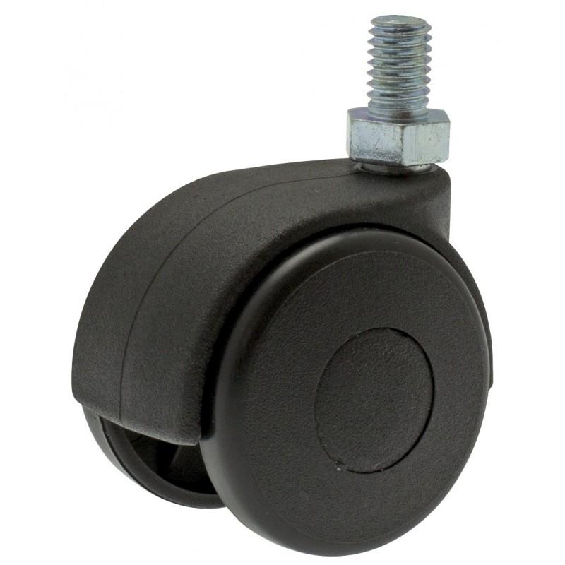 Roulette Twiny noire à tige filetée pivotante Guitel point M - Diamètre 40 mm