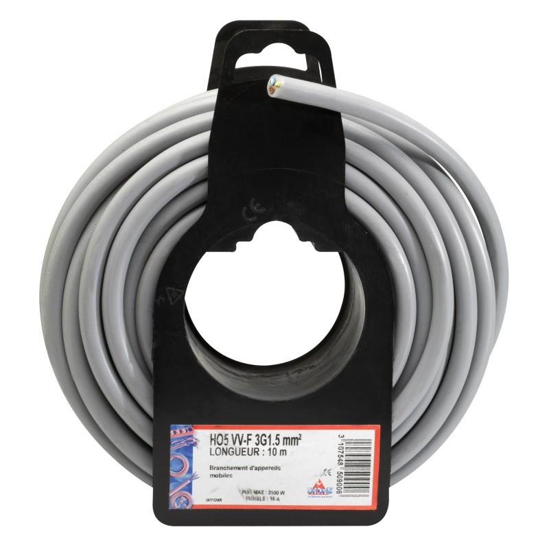 Câble H05 VV-F 3G 1,5 mm² Dhome - Gris - Longueur 5 m