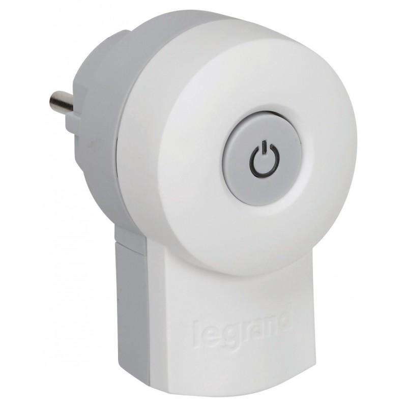 Fiches plastique avec interrupteur 2P+T Legrand - Mâle - Blanc