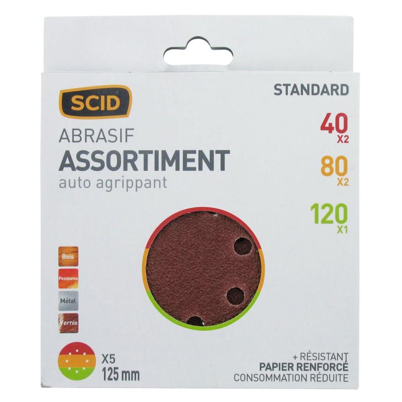 Disque auto-agrippant SCID - 8 trous - Grain 40, 80, 120 - Diamètre 125 mm - Vendu par 5