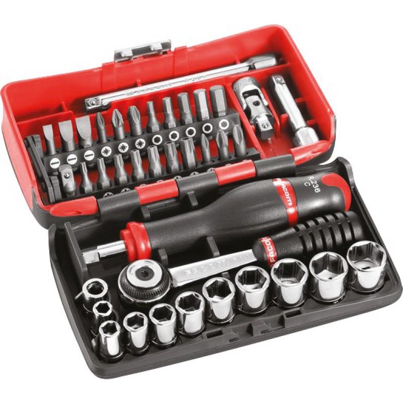 Coffret douilles et cliquets Radio - 1/4 pouce - Ultra compact - 38 outils - Facom