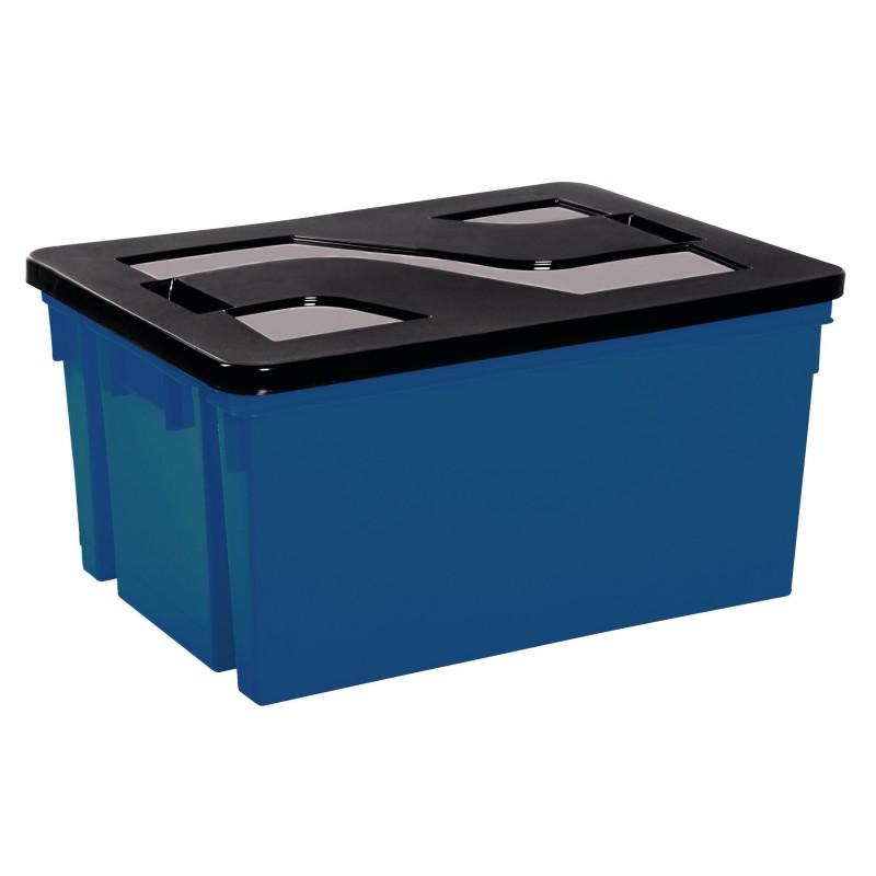 Bac de rangement Eda - Avec couvercle - Bleu et noir