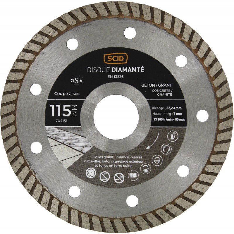 Disque diamanté béton granit crénelé SCID - Diamètre 115 mm