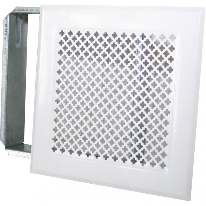Grille de cheminée avec précadre DMO - Blanc - Dimensions 170 x 170 mm