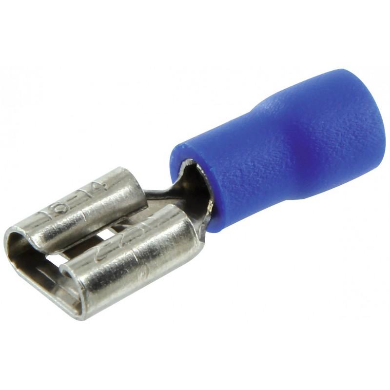 Clip femelle pré isolé Dhome - Bleue - Diamètre 6,35 mm - Vendu par 10