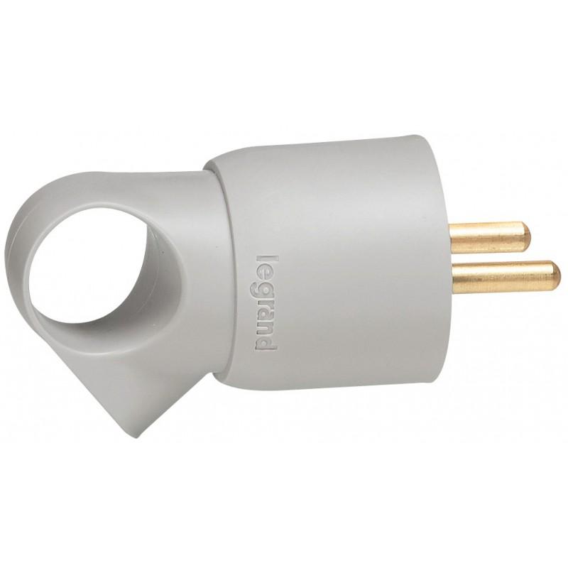 Fiche plastique avec anneau 2P+T 16 A Legrand - Mâle - Gris