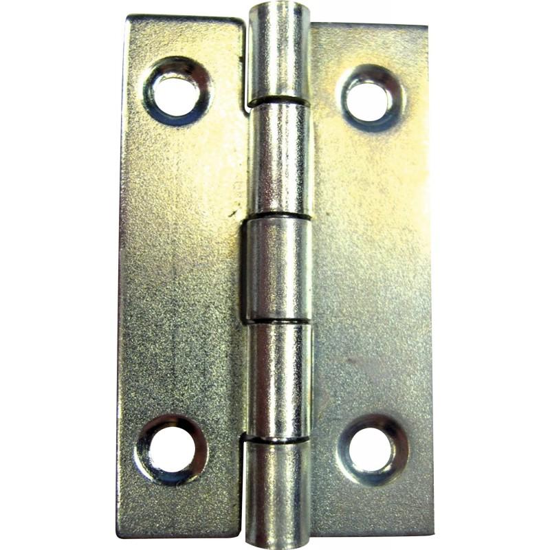 Charnière rectangulaire acier zingué PVM - Diamètre Fixation 2,5 mm - Hauteur 40 mm - Vendu par 2