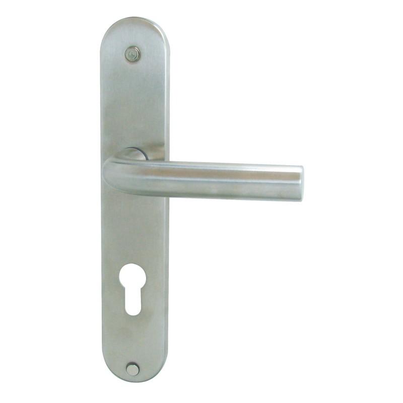 Poignée de porte inox mat Ecume DT 2000 - Clé I - cylindre