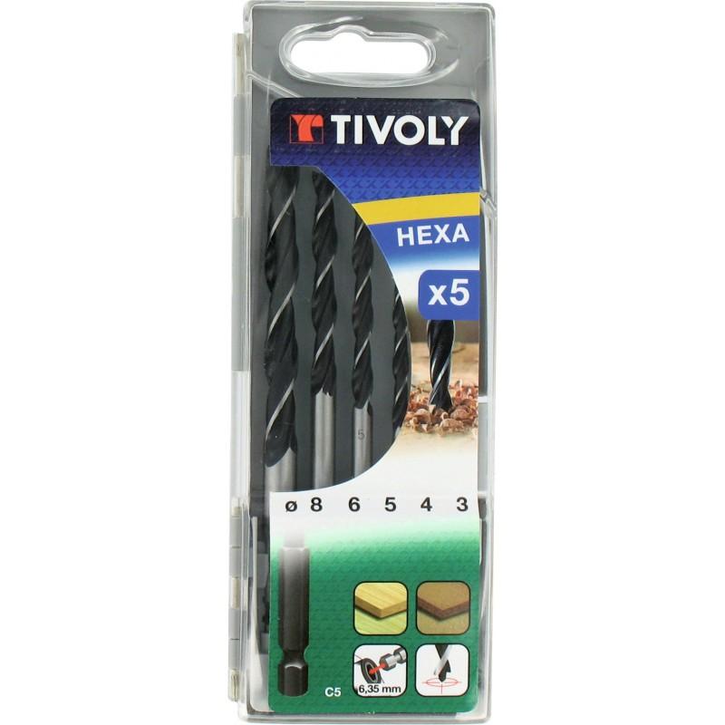 Coffret 5 forets bois hexagonaux Tivoly - Diamètre 3 à 8 mm
