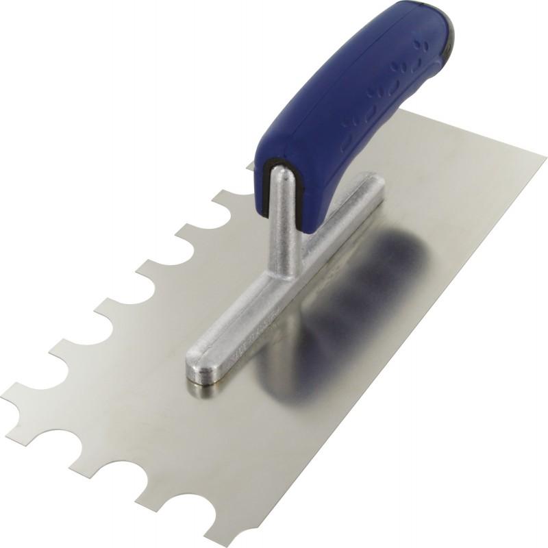 Platoir lame acier inoxydable dentée sur deux cotés Outibat - Denture demi-ronde 20 x 10 x 15 - Dimensions 280 x 120 mm