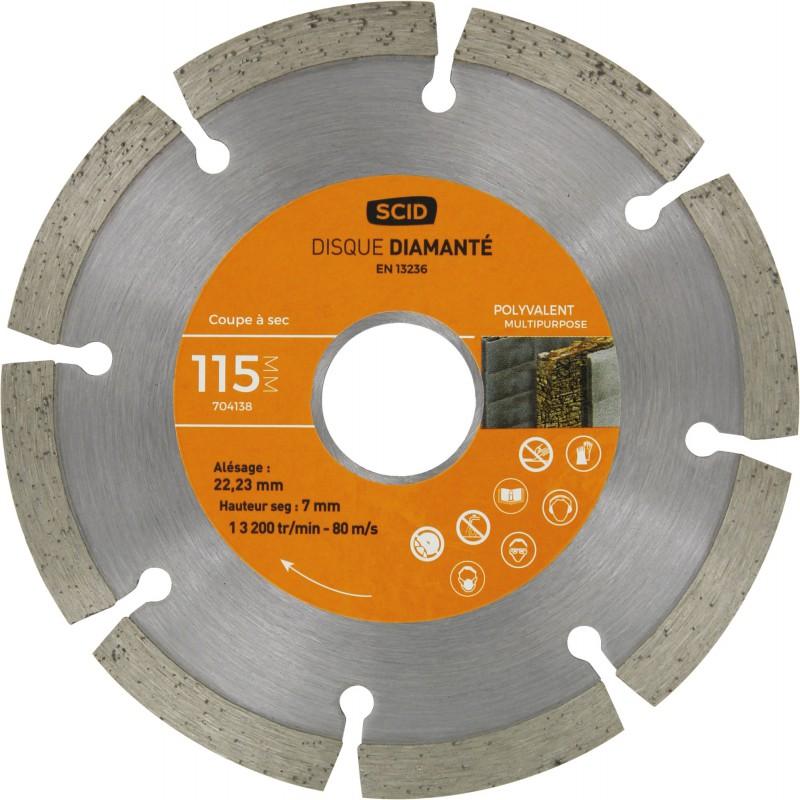 Disque diamanté polyvalent bricolage SCID - Diamètre 115 mm