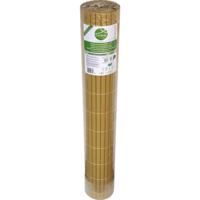 Canisse double face en plastique Catral - Bambou - Longueur 3 m - Hauteur 1 m
