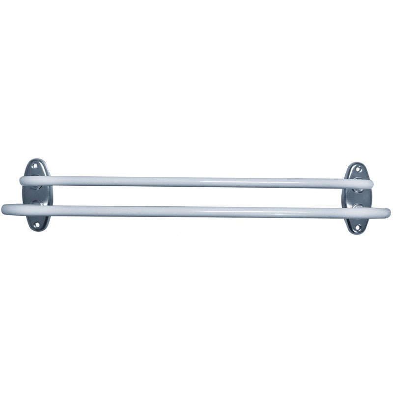 Porte-serviette en acier époxy blanc Godonnier - Fixe - 2 branches
