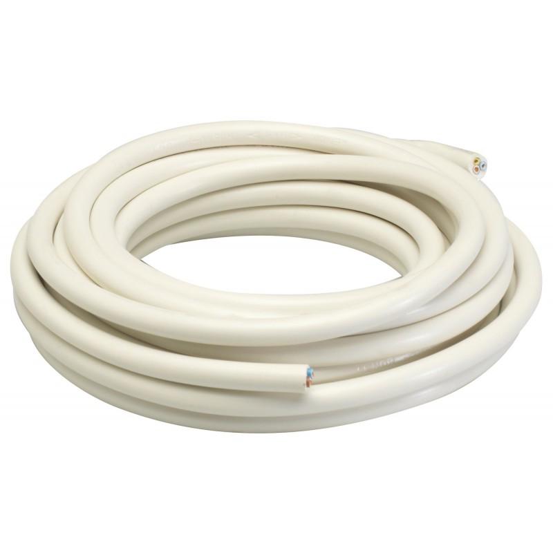 Câble H05 VV-F 3G 1 mm² Dhome - Blanc - Longueur 10 m