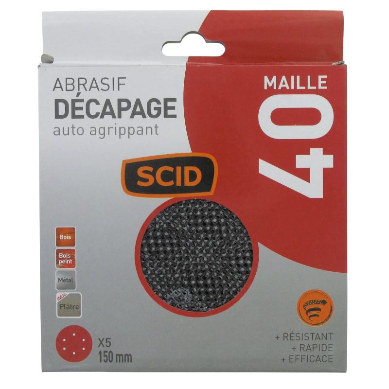Disque maille auto-agrippant diamètre 150 mm SCID - Grain 40 - Vendu par 5