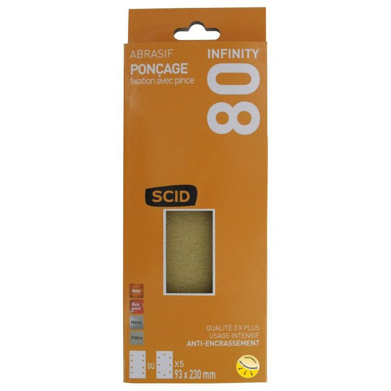 Patin fixation avec pince 93 x 230 mm SCID - Grain 80 - Vendu par 5