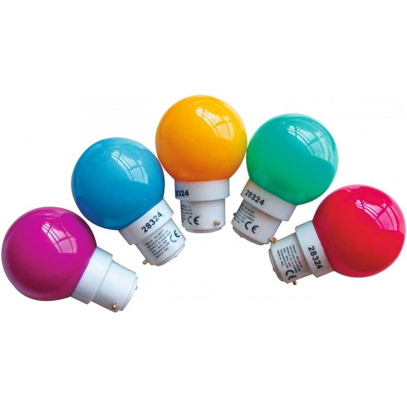 Ampoule sphérique multicolore LED B22 pour guirlande Tibelec - Vendu par 5