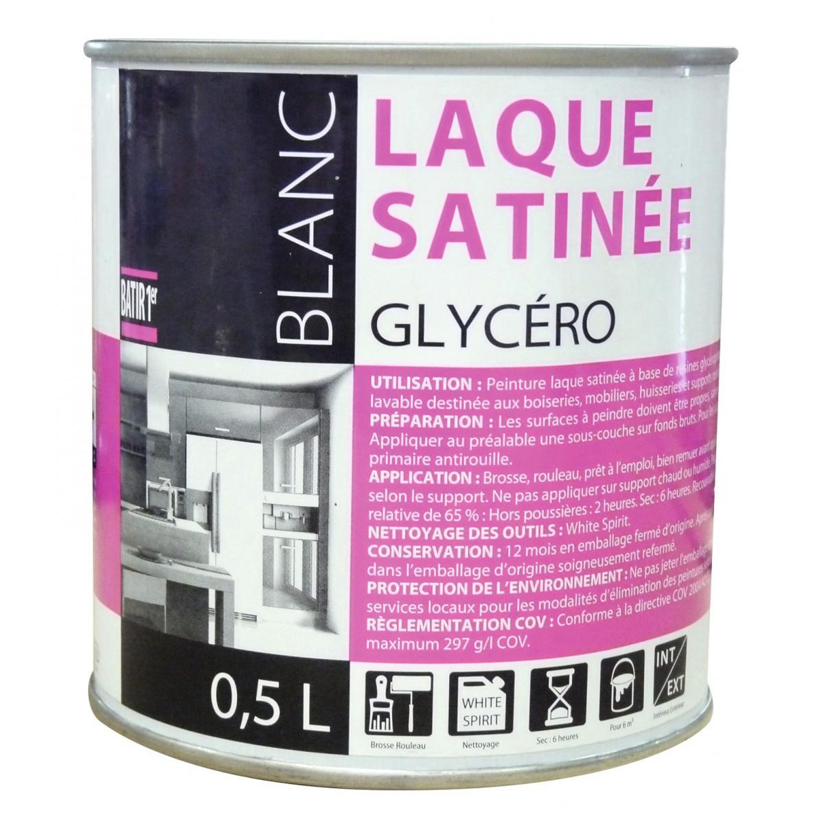 Peinture laque glycéro Batir 1er - Boîte 0,5 l - Satiné - Blanc de Peinture laque glycéro