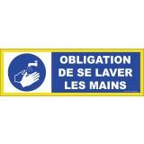 Panneau adhésif Obligation de se laver les mains - Haute visibilité - 450x150mm