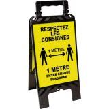 Chevalet noir et jaune - Respectez les consignes de sécurité - 608 x 272 mm