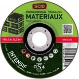 Disque à tronçonner usage fréquent SCID - Matériaux - Diamètre 115 mm - Alésage 22,2 mm