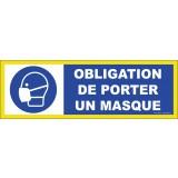 Panneau adhésif Obligation de porter un masque - Haute visibilité - 450x150mm