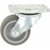 Roulette Mini Roll à platine pivotante Guitel point M - Roue Plastex gris - Charge utile 15 kg