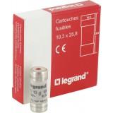 Cartouche domestique à voyant Legrand - 250 V coupure 6000 A - Intensité 10 A - Vendu par 10