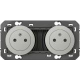 Double prise composable 2P+T surface précâblées Dooxie Legrand - Aluminium