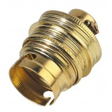 Douille B22 acier laitonné avec passage de fil L'Ebénoïd - Raccord diamètre 11 mm - Double bague