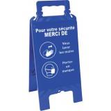 Chevalet Bleu - Laver les mais et Porter un masque - 608 x 272 mm
