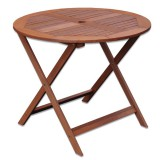 Table de jardin ronde pliante shorea - Kate