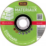 Disque à tronçonner standard SCID - Matériaux - Diamètre 125 mm - Alésage 22,2 mm