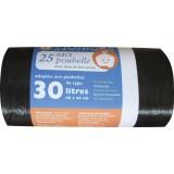 Sac poubelle à liens traditionnel Schweitzer - 30 l - Longueur 60 cm - 21 microns - 25 sacs