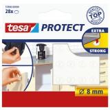 Pastille adhésive antiglisse et antibruit Tesa - Diamètre 8 mm - Transparent - Vendu par 28
