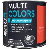 Peinture multi-supports satin soyeux Batir - Rouge coquelicot - 0,5 l