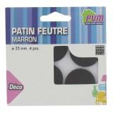 Patin feutre marron adhésif PVM - Diamètre 35 mm - Vendu par 4